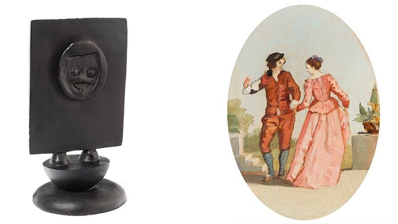 Links: MAX ERSNT (Brühl - 1976 Paris) - Chéri Bibi, nummeriert und signiert, 1975 Rechts: FERDIAND HODLER (1853 Bern - 1918 Genf) - Der Tanz, Öl/Lwd., 1878
