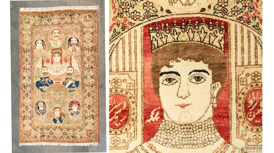 Musealer Orientteppich mit Herrscherportraits, Kirman-Laver, Persien um 1900