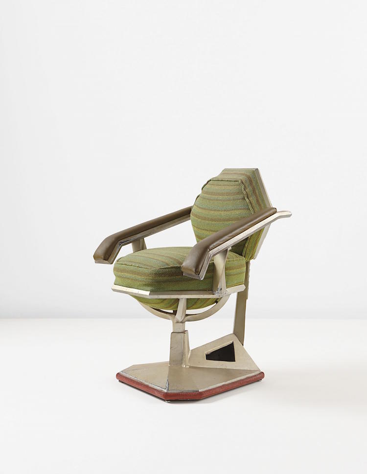 """FRANK LLOYD WRIGHT. """"Executive"""" armchair from the offices of the Harold C. Price Co. Tower, Bartlesville, Oklahoma, circa 1956. Estimate $30,000 - $40,000. Photo via Phillips"""