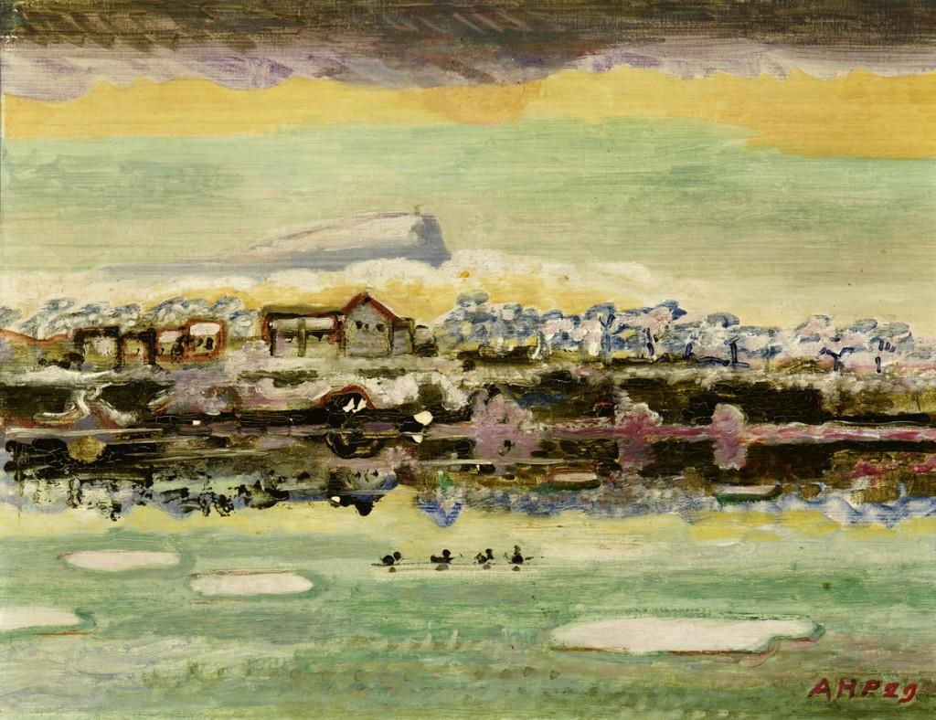 """ALFRED HEINRICH PELLEGRINI (1881 - 1958 Basel) - """"Wintermorgen in Augst"""", Öl/Lwd., betitelt, monogrammiert, signiert und datiert, 1929"""