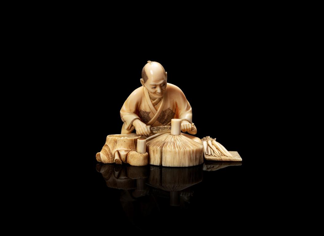 日本明治时期 象牙雕件 - 高H. 5,2 cm – 重Poids. 63 g - 估价200-400€