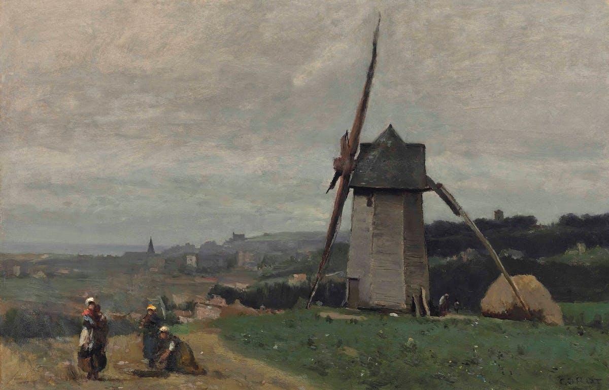 """JEAN-BAPTISTE COROT. """"Étretat - Un Moulin À Vent"""". Óleo sobre tabla (c. 1855-65)."""