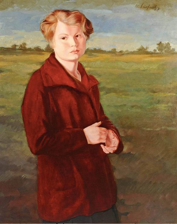 WILHELM LACHNIT (1899 Gittersee/Dresden - 1962 Dresden) - Portrait Leni, Lasurmalerei in Tempera und Öl/Sperrholz, ca. 100 x 79,5 cm, signiert und datiert, 1927 Startpreis: 9.500 EUR