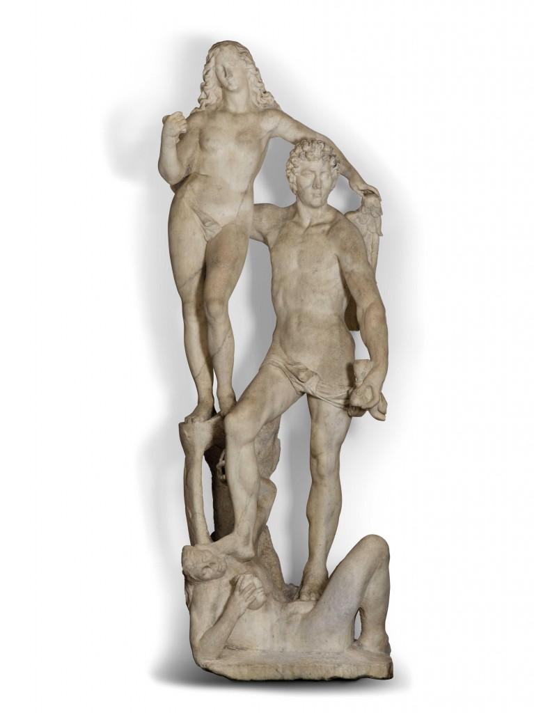 MICHELANGELO NACCHERINO (Florenz 1550 - Neapel 1622) - Die Zeit, die die Wahrheit emporhebt und die Lüge zertritt, Marmor, 283 x 92 x 83 cm Schätzpreis: 180.000-250.000 EUR