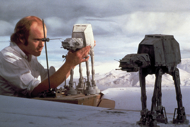 Tippett working on the famous AT-ATs on the set of The Empire Strikes Back