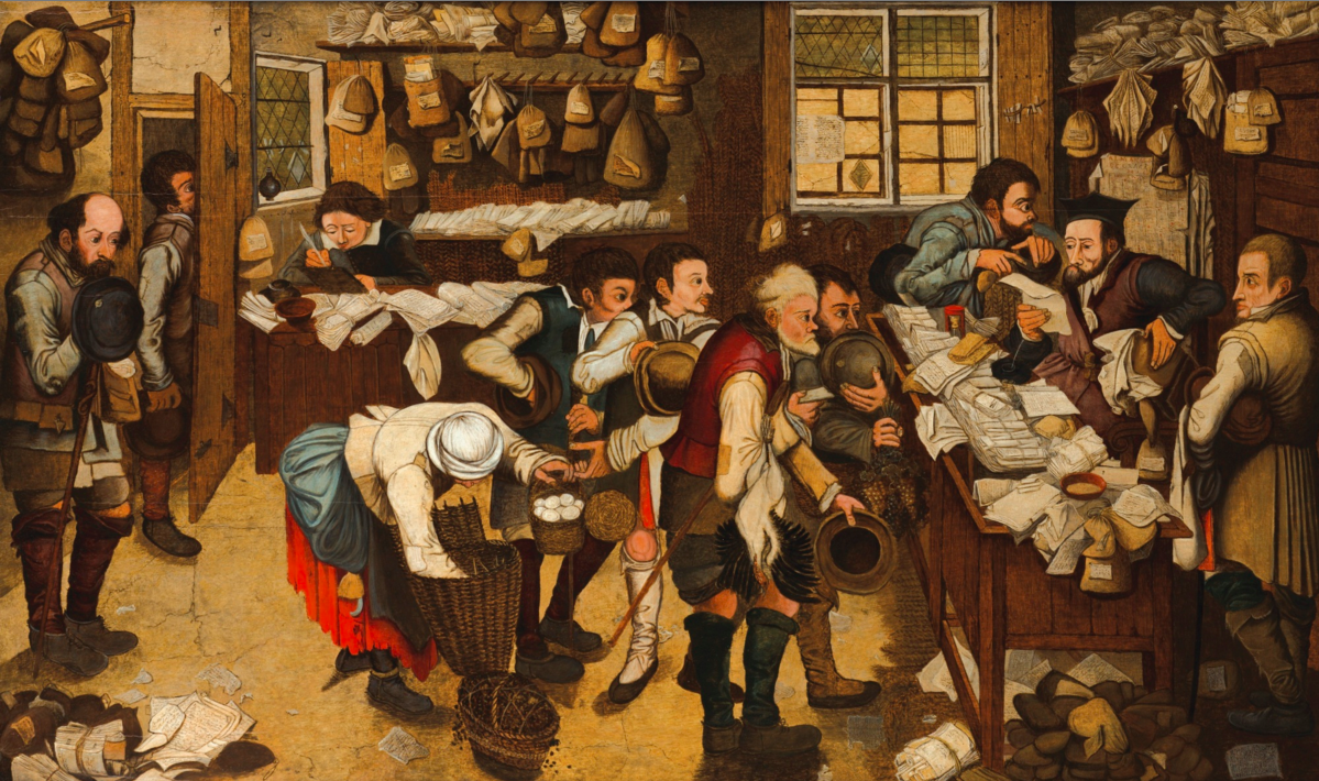 PIETER BRUEGHEL THE YOUNGER; THE PAYMENT OF THE TITHE ALSO CALLED THE PEASANTS' LAWYER ; OIL ON PANEL