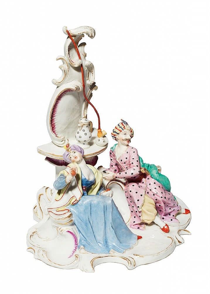 ANTON BUSTELLI. Pareja turca de porcelana tomando café (1756)