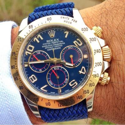 Todays Wristshot: Rolex Daytona on a blue perlonstrap(photo:whatchsdotcom)!