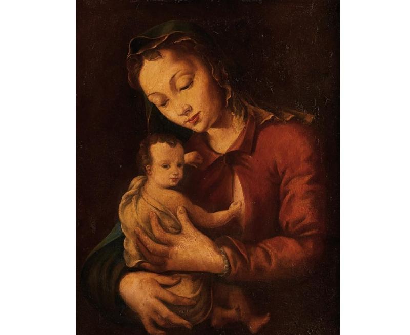 """ESCUELA ESPAÑOLA. """"Virgen con Niño"""" (S. XIX)"""