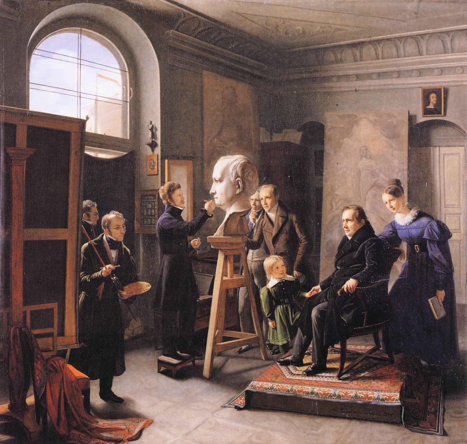 Christian Vogel von Vogelstein - David d'Angers bei der Arbeit an der Büste von Ludwig Tieck, 1834