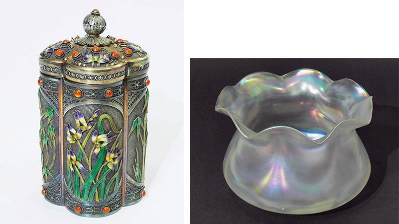 Links: Deckeldose mit floralem Dekor, Silber, teilvergoldet und emailliert, Karneolperlen Rechts: JOH. LOETZ WITWE KLOSTERMÜHLE - Jugendstil-Schale aus irisierendem Glas