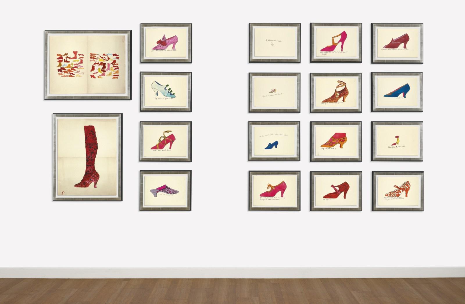 2016年3月蘇富比拍賣16雙安迪沃荷手繪的平版印刷