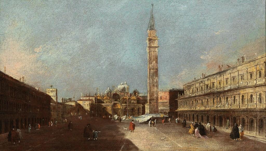 FRANCESCO GUARDI (Venedig 1712–1793) - Der Markusplatz in Venedig, Öl/Lwd., 26,5 x 45,5 cm Schätzwert: 200.000-300.000 EUR