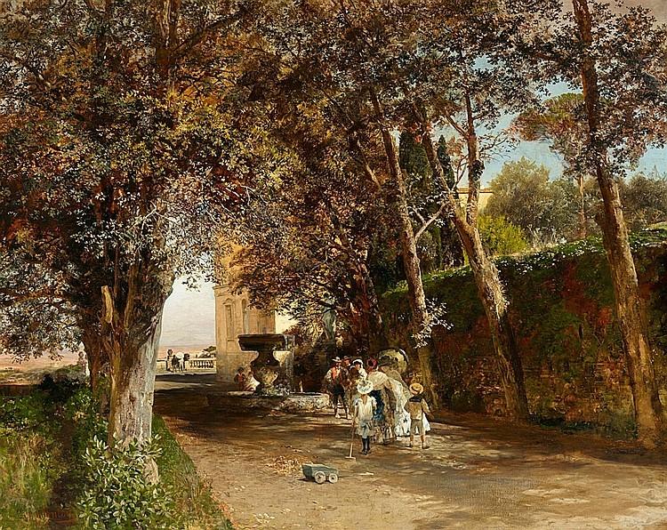 Oswald Swald Achenbach, «Société dans le parc de la Villa Torlonia à Frascati», huile sur toile, 1889