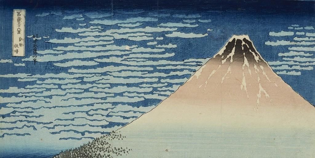 """Der 1830/31 angefertigte Holzschnitt """"Roter Fuji"""" von Katsushika Hokusai wird in seine Heimat Japan zurückkehren."""