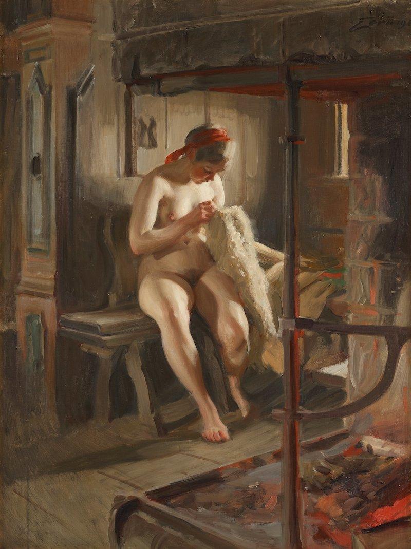 """Anders Zorns oljemålning """"Loppan"""" från Signerad Zorn och daterad 1918."""