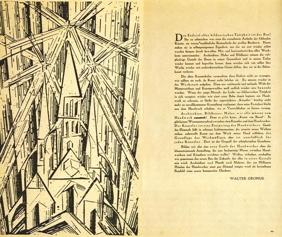 Bauhausmanifestet, 1919, formgivet av Lyonel Feininger