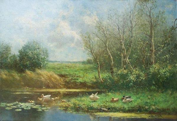 David Adolph Constant Artz (1837 Haag - 1890 Haag) - Ankfamilj på en solig flod, olja på duk, signerad. Utropspris: 40 000 - 53 000 kronor.