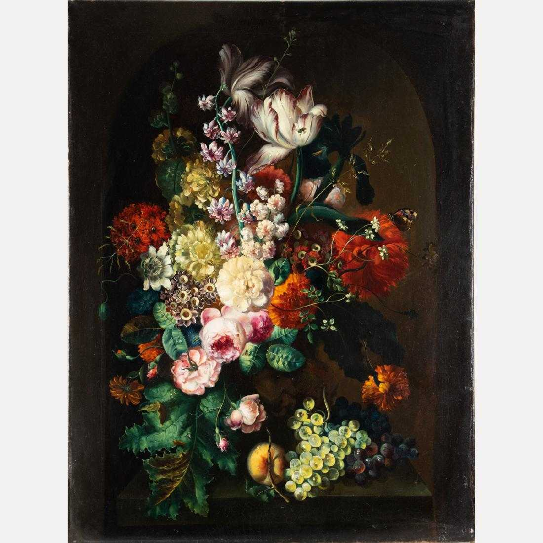 Oil on canvas titled Still Life with Flowers after Margaretha Haverman (circa 1693-after 1739), the renowned flower painter from the Northern Netherlands (est. $5,000-$7,000).