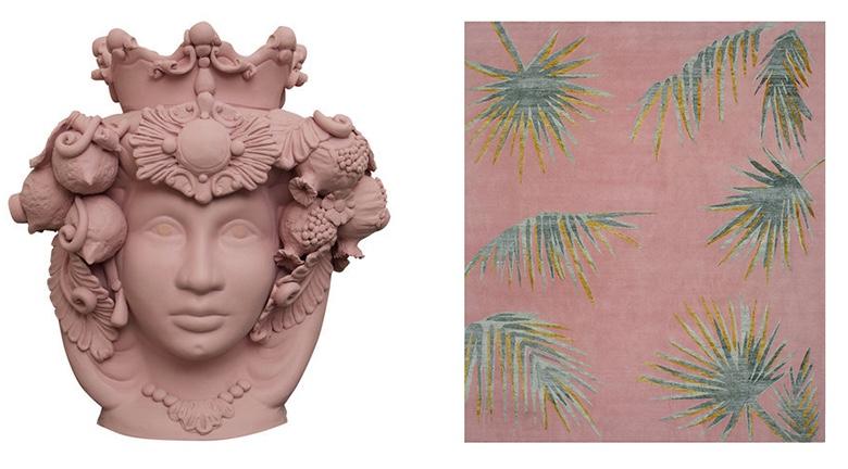 "Links: STEFANIA BOEMI - Vase ""Donna Rosalia"" Rechts: ILARIA FERRARO TOUEG - Teppich ""Pink Palms"""