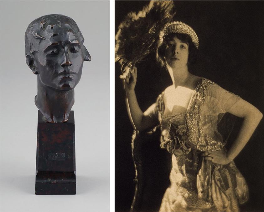 Links: GERTRUDE VANDERBILT WHITNEY (1875 New York 1942) - Kopf des Titanic Memorials, Bronze/Marmor, signiert und datiert, 1915 Rechts: Gertrude Vanderbilt Whitney, Fotografie von 1917   Abb. via Wikipedia