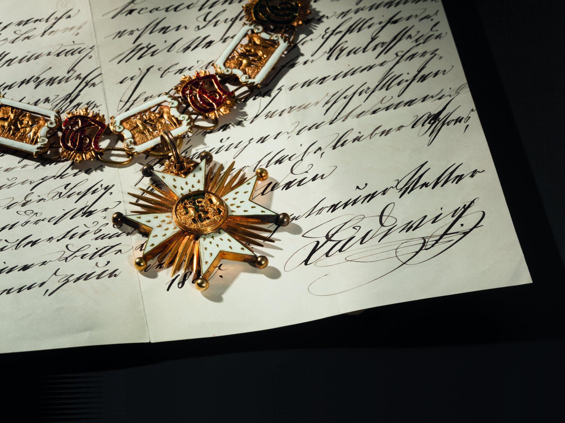 Prinz Alfons von Bayern - Hausritterorden vom Hl. Hubertus mit goldener Kollane, Mitte 19. Jh.