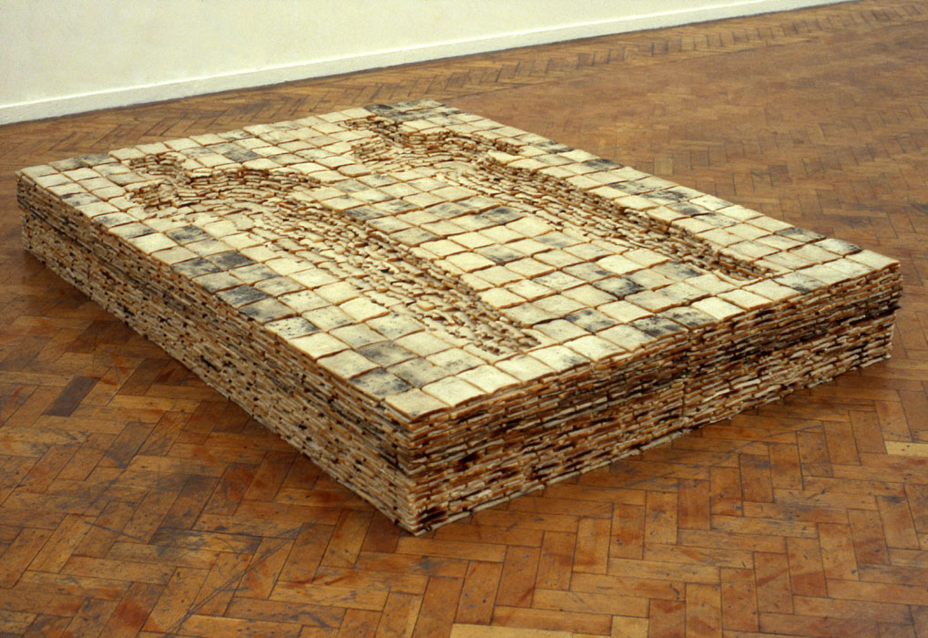 BED, 1980 - 1981 Bread and wax 28 x 220 x 168 cm Installation view, Whitechapel Art Gallery, London, England, 1981
