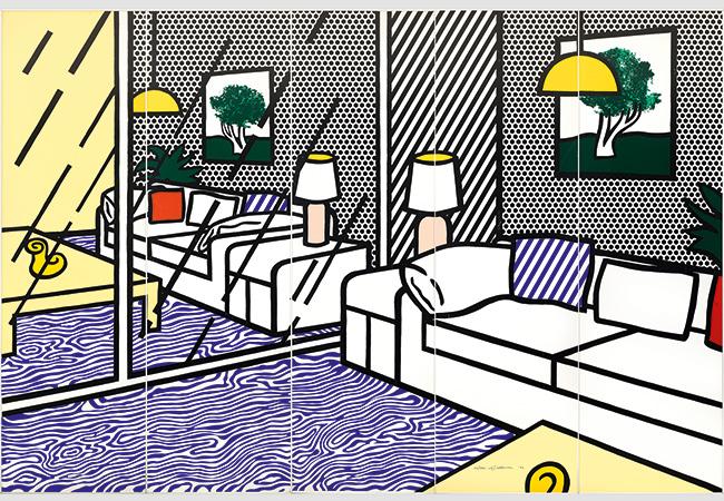 """ROY LICHTENSTEIN (1923 New York 1997) - """"Wallpaper with Blue Floor Interior"""", Farbserigraphie/Papier, 5 Paneele, nummeriert und signiert, 1992"""