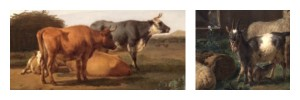 Details of cows from 'A farm with a dead tree' and goats from