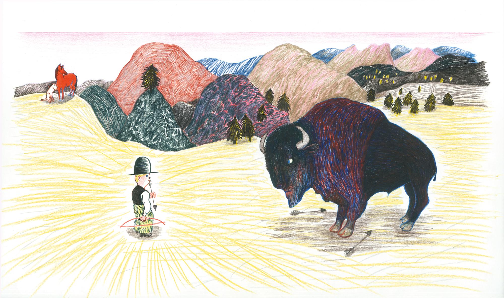 Illustrationer från boken Farwest, 2019. visas i Kitty Crowther - Originalillustrationer 23 mars - 19 maj 2019 Bror Hjorths Hus, Uppsala