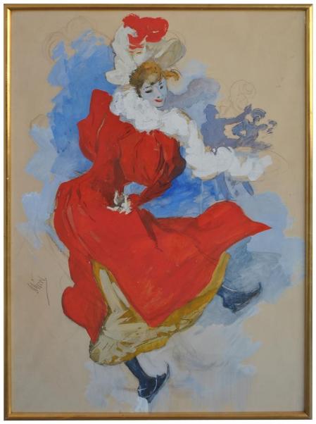 Etude préparatoire à la gouache de Jules Cheret 1836-1932 Marseille Antiquités