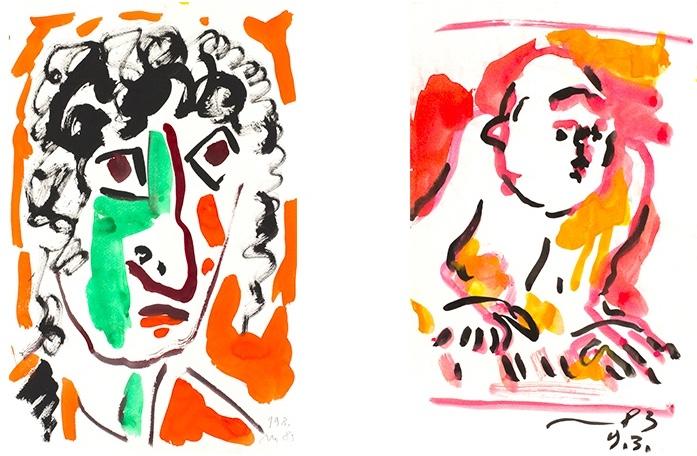OTTO MÜHL (1925 Grodnau - 2013 Moncarapacho) Links: Kopf, Gouache, signiert und datiert, 1983 Rechts: Klavierspieler, Gouache/Papier, datiert, 1983