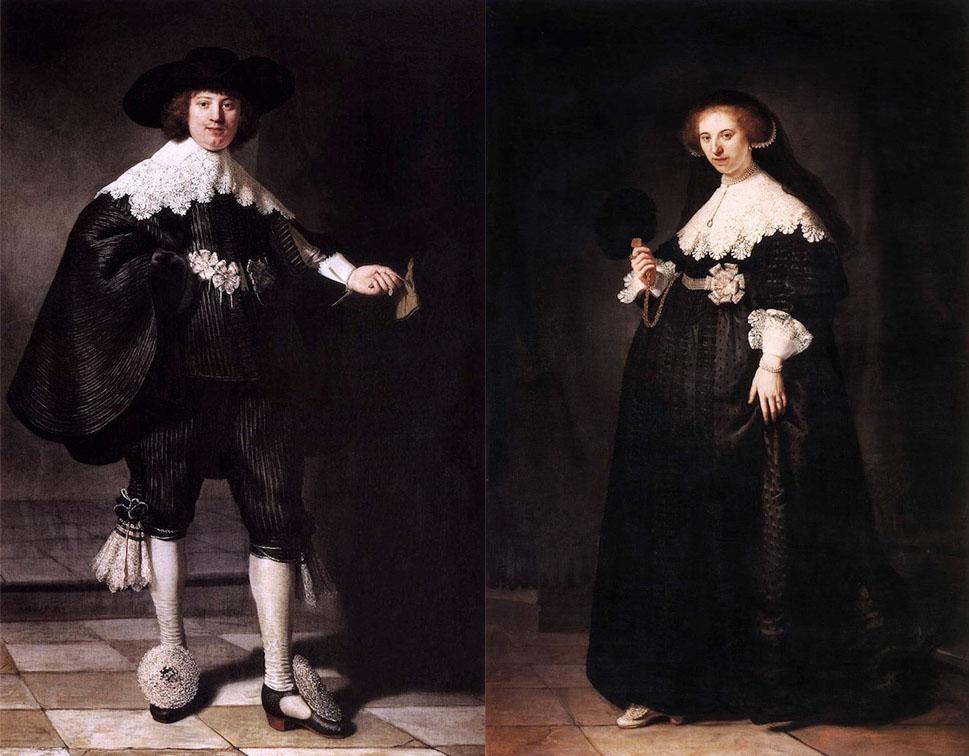 Portrait de Marten Soolmans et Portrait de Oopjen Coppit, de Rembrandt van Rijn, 1634. Paris, collection Éric de Rothschild