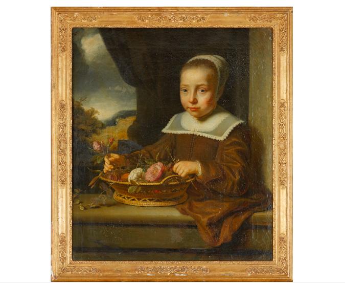 Det finstämda 1600-tals porträttet föreställande en ung flicka med en blomsterkorg i händerna är målat av någon i Ferdinand Bols krets. Exakt vem som är konstnären är svårt att säga, men att det är av den holländska skolan är säkert. De inhyrda experterna från Cabinet Turquin, Stéphane Pinta, Paris anser att porträttet är målat kring 1640. Utropet är 80 000-100 000 kronor