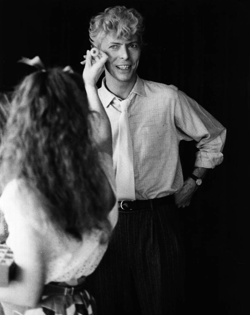 David Bowie in 1983 having has his eyes matched for Madame Tussaud's waxwork model.