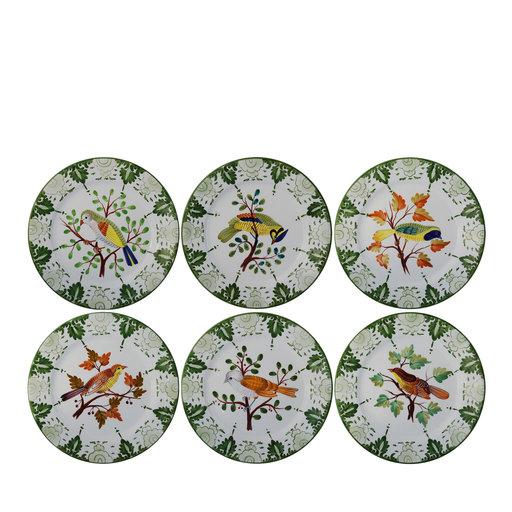 Set of 6 tropical birds ceramic platesArtemest