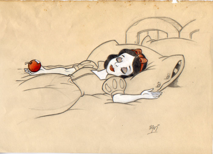 Xavier Vives Mateu - Original sketch with Snow White after biting into the poisoned apple, pencil / paper