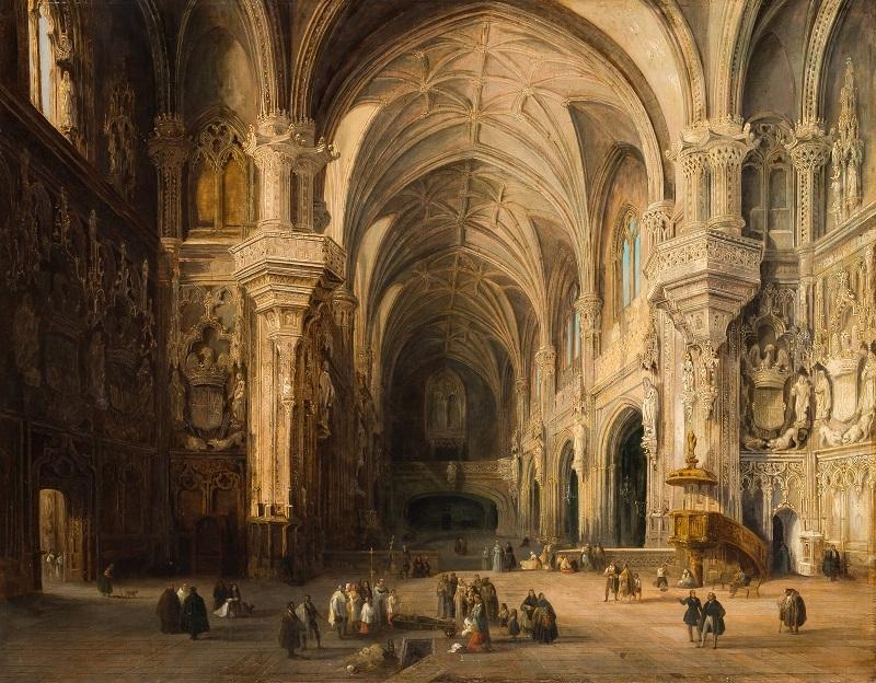 """Jenaro Pérez Villaamil. (Ferrol 1807 - Madrid 1854) """"San Juan de los Reyes, Toledo"""""""