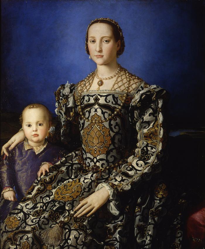 Ritratto di Eleonora di Toledo col figlio Giovanni, 1545 circa, immagine via Wikipedia.