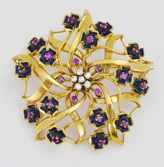 Broche à motifs de fleurs sertie de diamants, rubis et émail Genève Enchères