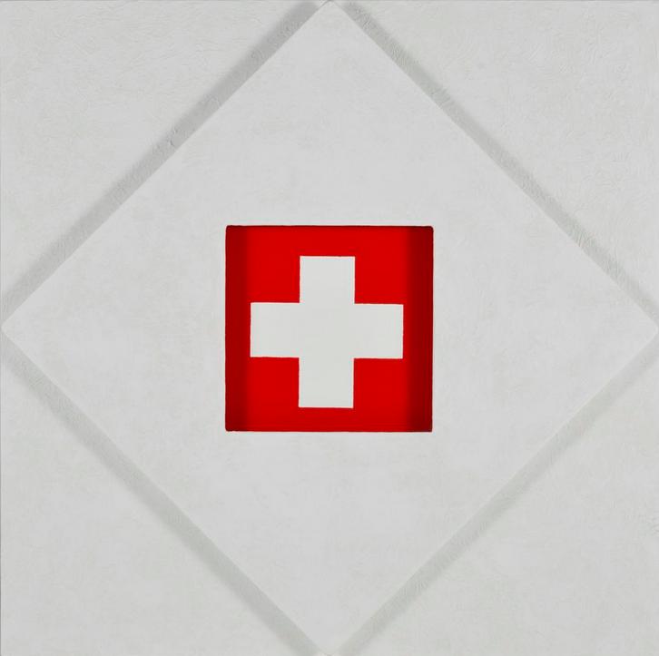 Rotraut Klein-Moquay (1938) Drapeau suisse (1991) Huile sur toile et sur panneau signée au dos