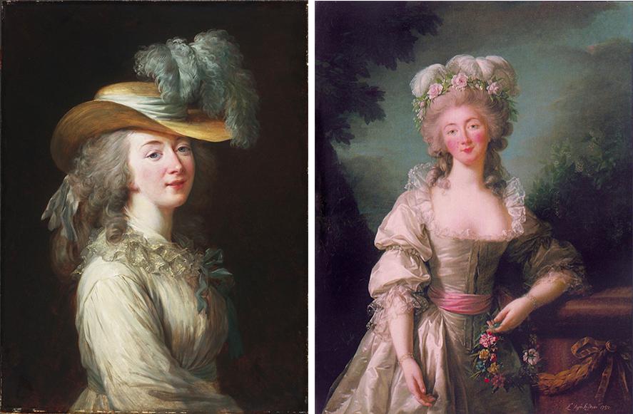 Links: Élisabeth-Louise Vigée Le Brun, Portrait der Madame du Barry, 1781, Philadelphia Museum of Art Rechts: Élisabeth-Louise Vigée Le Brun, Portrait der Madame du Barry, 1782, National Gallery of Art, Washington D.C.