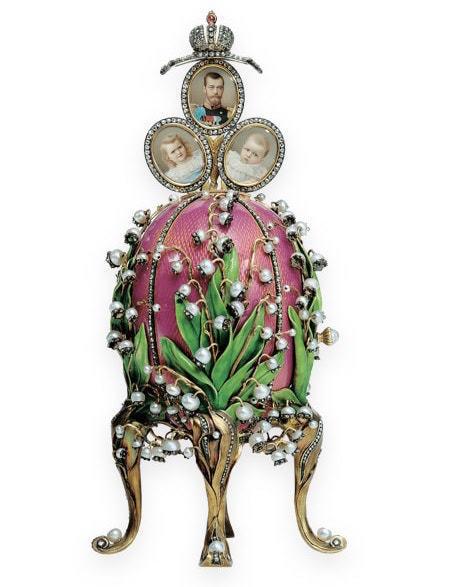 Das Maiglöckchen-Ei schenkte Zar Nikolaus II. seiner Gemahlin Alexandra Fjodorowna zu Ostern 1898 | Foto via arthistoryproject.com