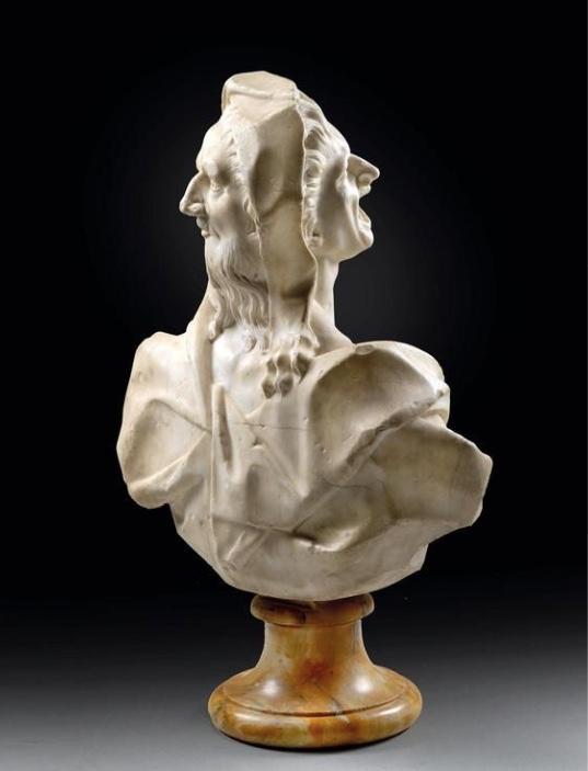 """BALTHASAR PERMOSER (1651 – 1732) zug. - Doppelbüste """"Leid und Bestürzung"""", Marmor Schätzwert: 40.000-60.000 EUR"""