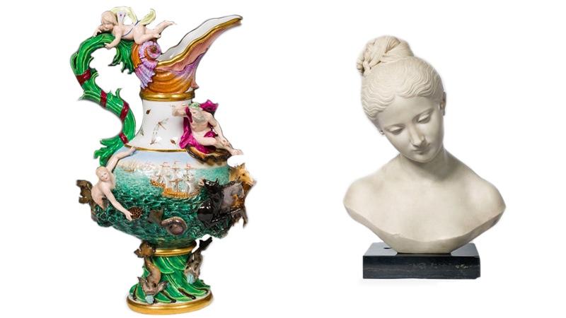 """Links: MEISSEN - Elementenvase """"Wasser"""", Porzellan, farbig staffiert, teilvergoldet, 2. H. 19. Jh. Rechts: LORENZO BARTOLINI (Vaiano 1777 - 1850 Florenz) - Marmorbüste eines jungen Mädchens, Marmor, signiert, Italien um 1835"""