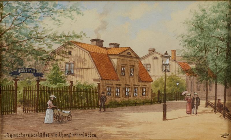 """JOHAN FREDRIK ISBERG (1846-1904): """"Jägmästarebostället vid Djurgårdsslätten"""", monogramsignerad, akvarell, ca 10x15,5 cm; Läs mer HISTORIK: Gröna Lund, numera Bellmanhuset är en byggnad på Långa gatan 4 på Djurgården. Värdshuset Gröna Lunden är omsjunget av Carl Michael Bellman i tre epistlar. """"Jägarbostället vid Djurgårdsslätten"""" visar Apotekarehuset och Djurgårdskyrkan."""