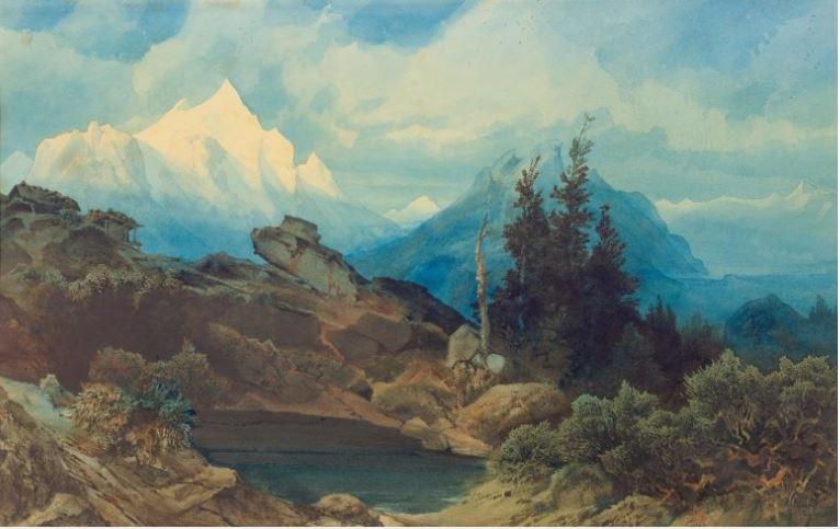 """Atribuido a ALEXANDRE CALAME. Hochgebirgslandschaft """"Las altas montañas"""""""