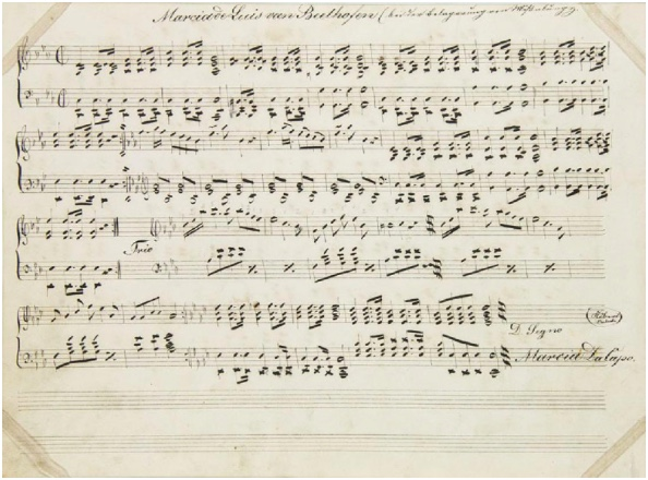"LUDWIG VAN BEETHOVEN Notenhandschrift ""Marcia in C-Moll"", 1. Hälfte 19. Jh."
