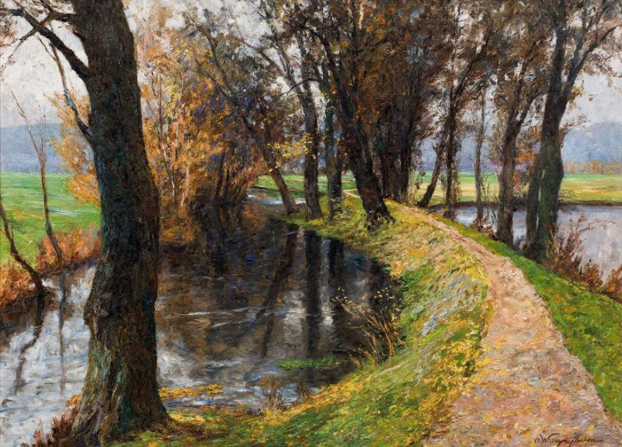 OLGA WISINGER-FLORIAN (Wien 1844-1926 ebenda) - Der Fürstenweg in Raitz (Südmähren), Öl/Lwd., 101,5 × 135,5 cm, signiert, 1907 Schätzpreis: 50.000-100.000 EUR