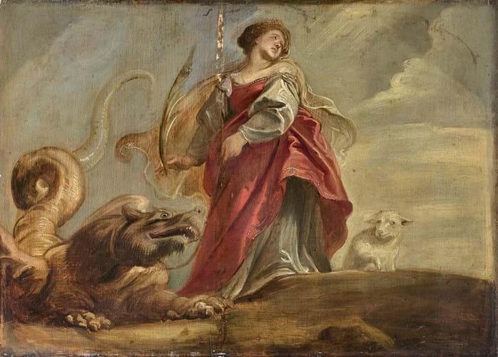 St. Margaret, Peter Paul Rubens. 1620, oil on oak wood panel.